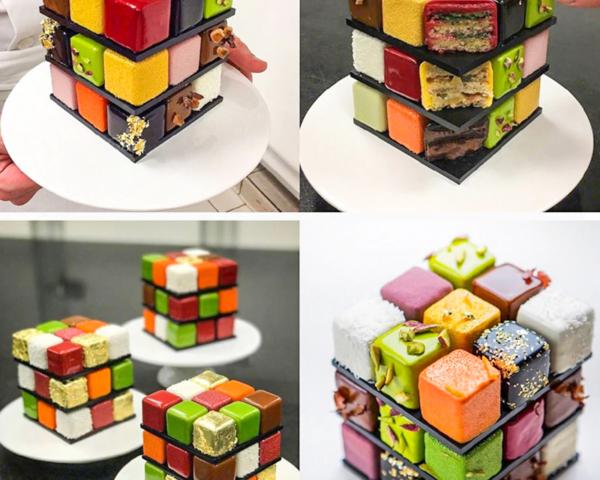 Moule gâteau Rubik's Cube en silicone 5
