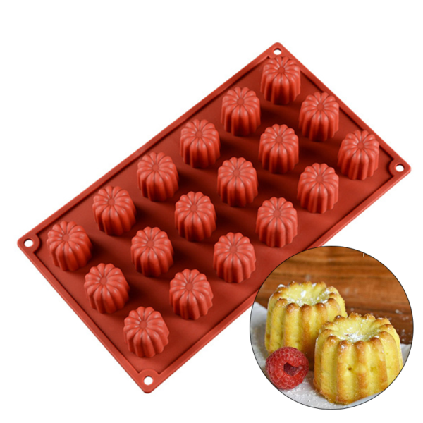Moule silicone mini-cannelés 18 cavités
